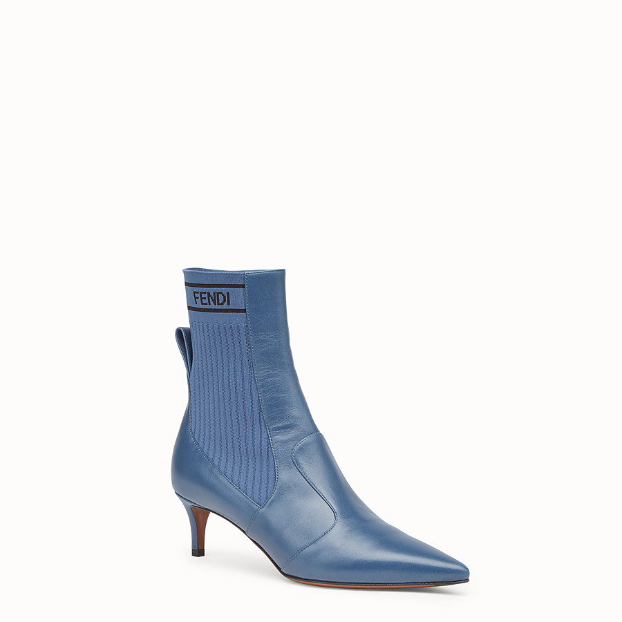 FENDI BOOTS - Blue leather booties - view 2 detail