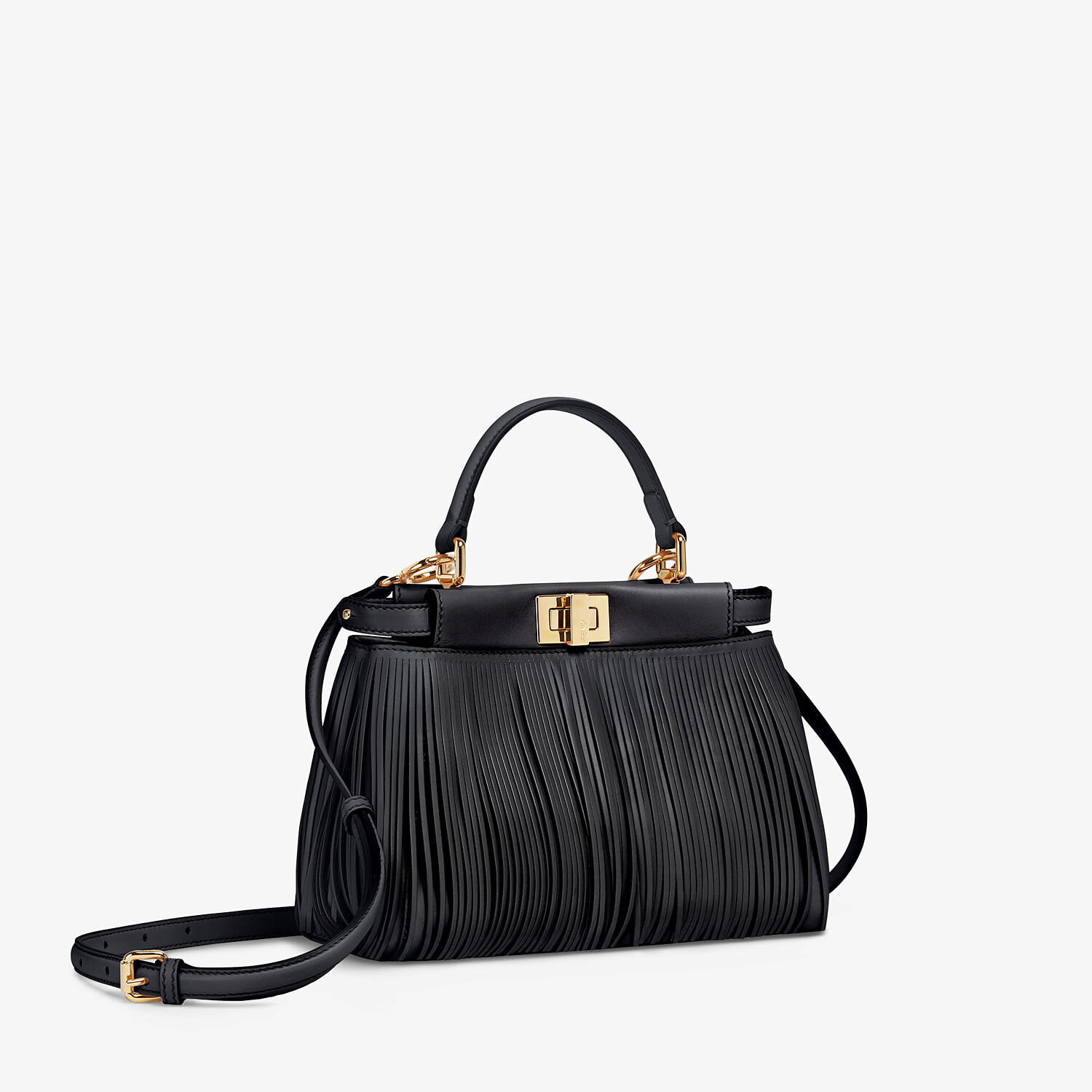 FENDI PEEKABOO ICONIC MINI - Black leather bag with fringes - view 3 detail