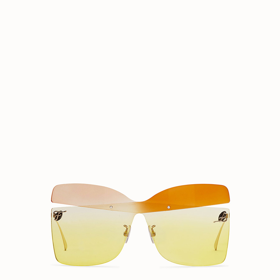 FENDI KARLIGRAPHY - Golden, pink, and orange-colored sunglasses - view 1 detail