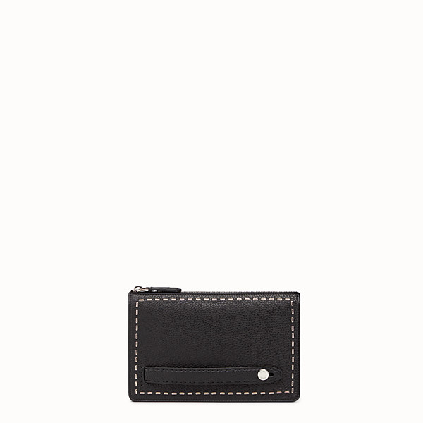 FENDI CLUTCH - in black Roman leather with metallic stitching - view 1 small thumbnail