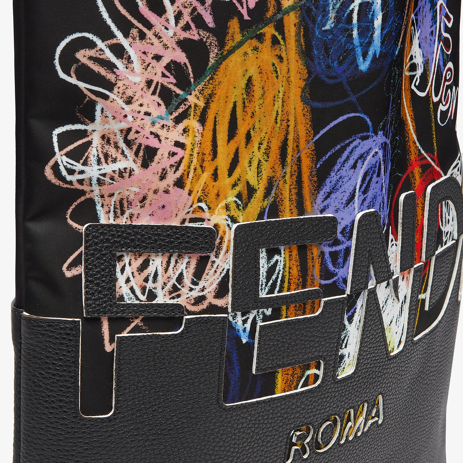 FENDI FLAT SHOPPING BAG - Multicolor nylon and leather bag - view 5 detail