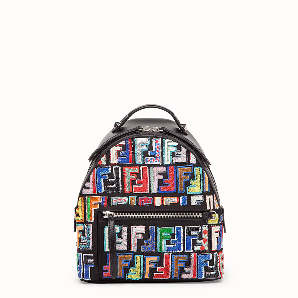 FENDI MINI BACKPACK - Small black leather backpack - view 1 small thumbnail
