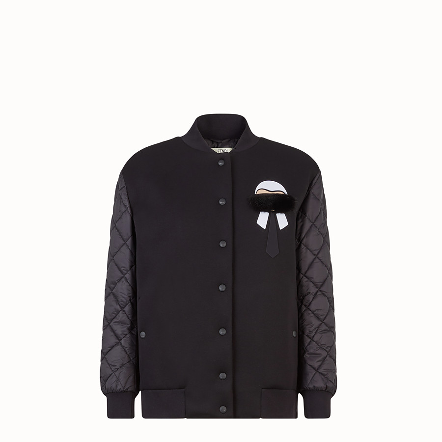 FENDI JACKET - Black fabric bomber jacket with embroidery - view 1 detail