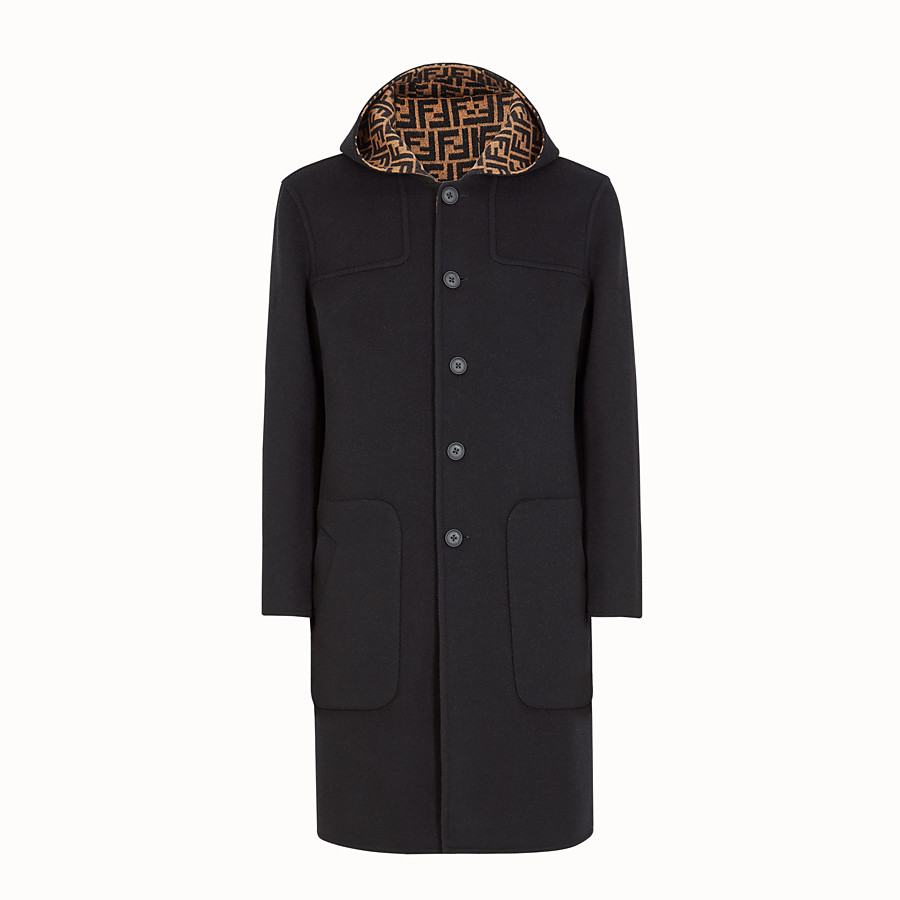 FENDI DUFFEL COAT - Brown wool coat - view 1 detail
