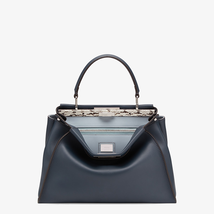 FENDI PEEKABOO ICONIC MEDIUM - Blue leather bag with exotic details - view 1 detail