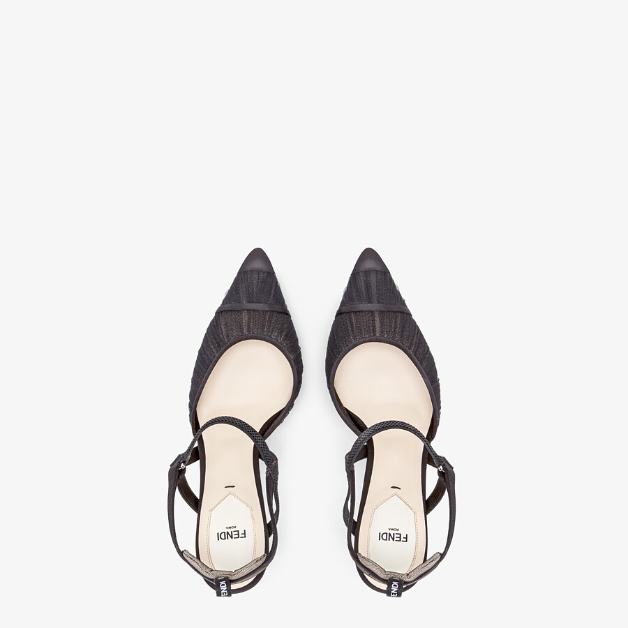 FENDI SLINGBACK - Black tulle and satin Colibrì - view 4 detail