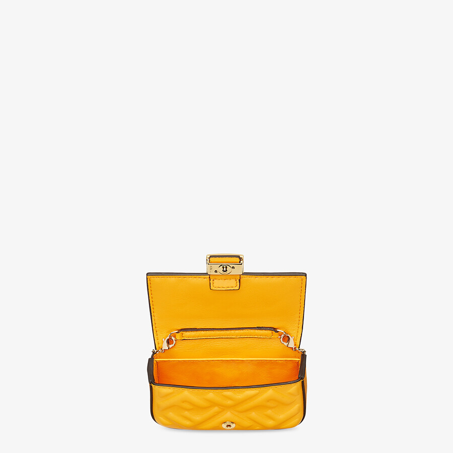 FENDI NANO BAGUETTE CHARM - Orange nappa leather charm - view 4 detail