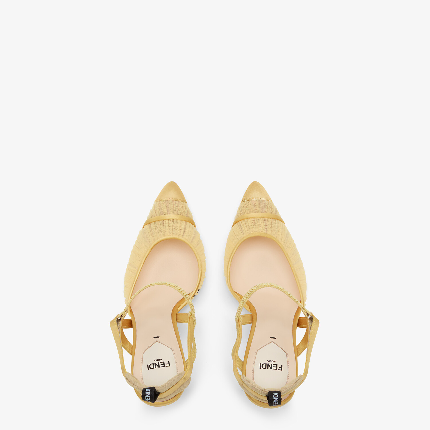 FENDI SLINGBACK - Yellow tulle and satin Colibrì - view 4 detail