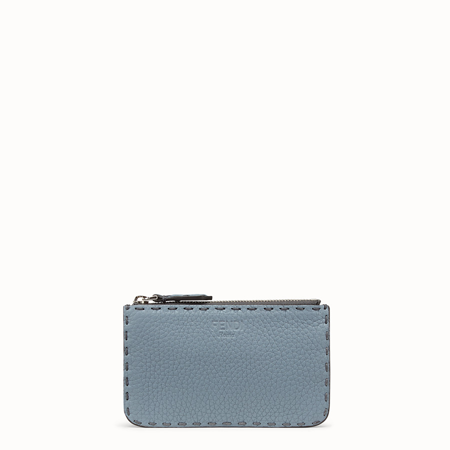 FENDI KEY RING - Pale blue leather pouch - view 1 detail