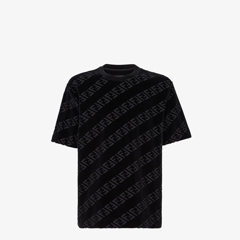 FENDI T-SHIRT - Black velvet T-shirt - view 1 detail