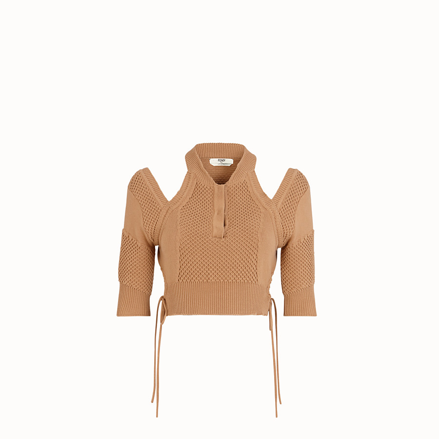 FENDI PULLOVER - Beige cotton pullover - view 1 detail