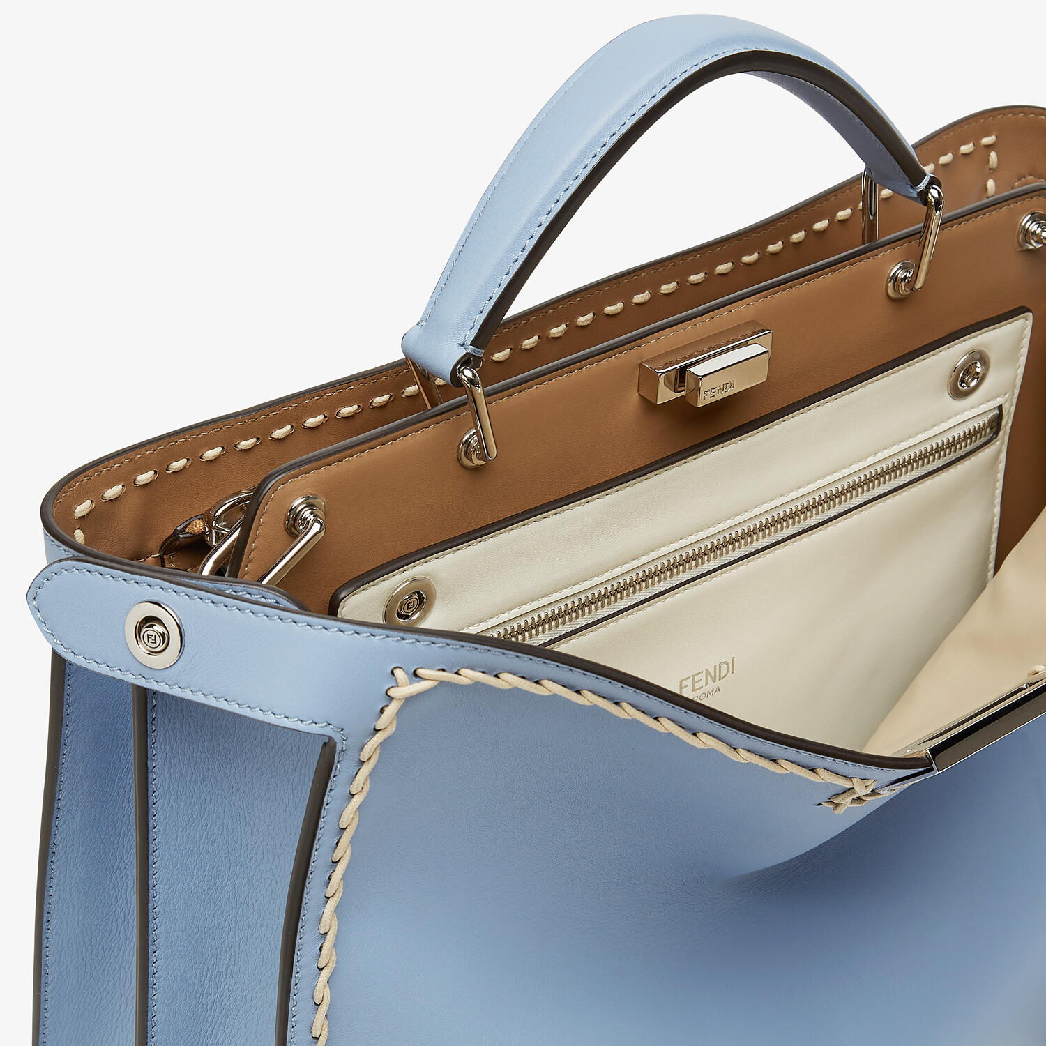 FENDI MEDIUM PEEKABOO ISEEU - Light blue leather bag - view 6 detail