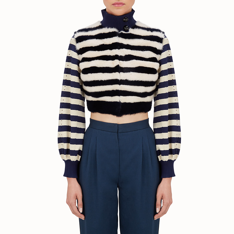 FENDI JACKET - Striped knitted jacket with fur - view 1 detail