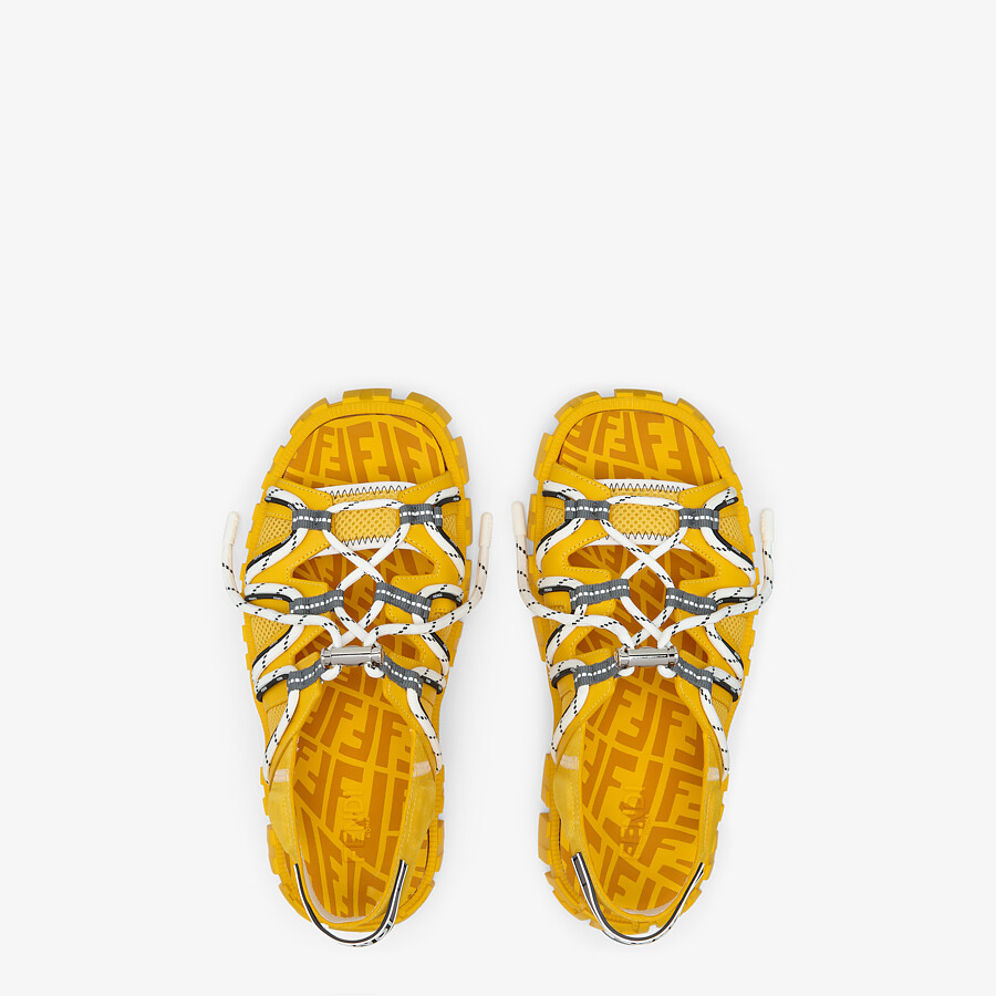 FENDI SANDALS - Yellow leather and tech mesh sandals - view 4 detail