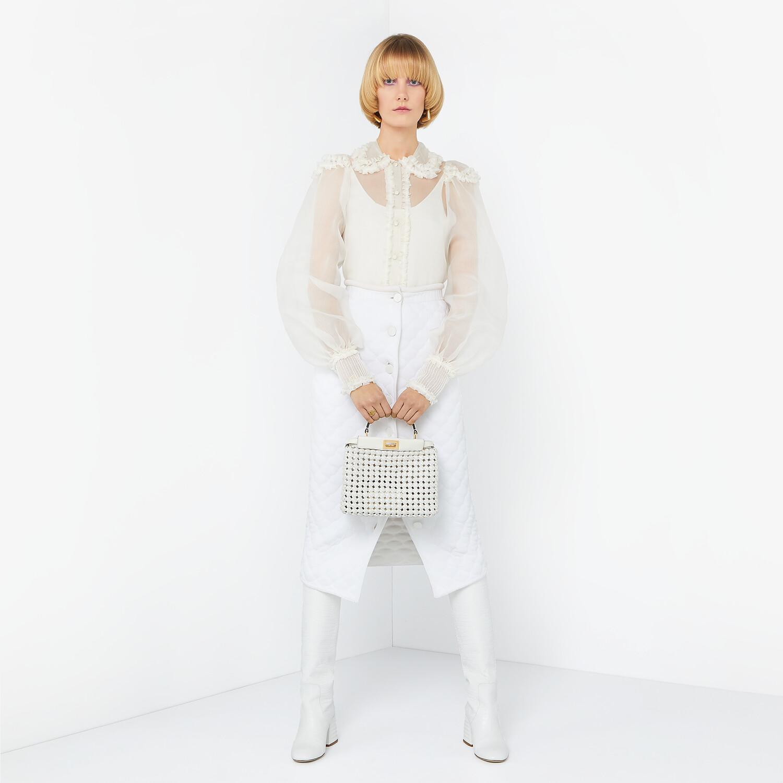 FENDI PEEKABOO ICONIC MINI - White leather interlace bag - view 2 detail