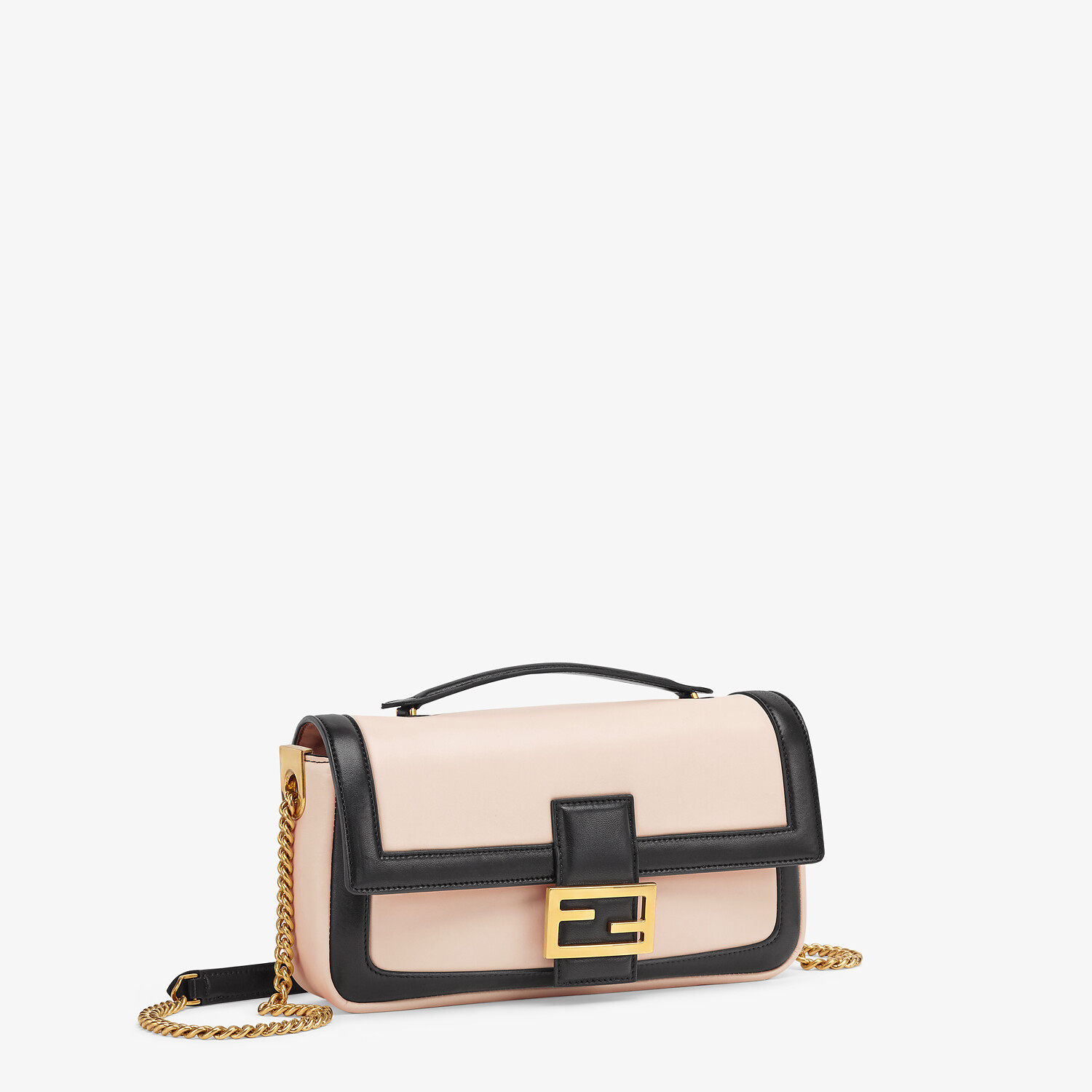 FENDI BAGUETTE CHAIN - Pink and black nappa leather bag - view 2 detail