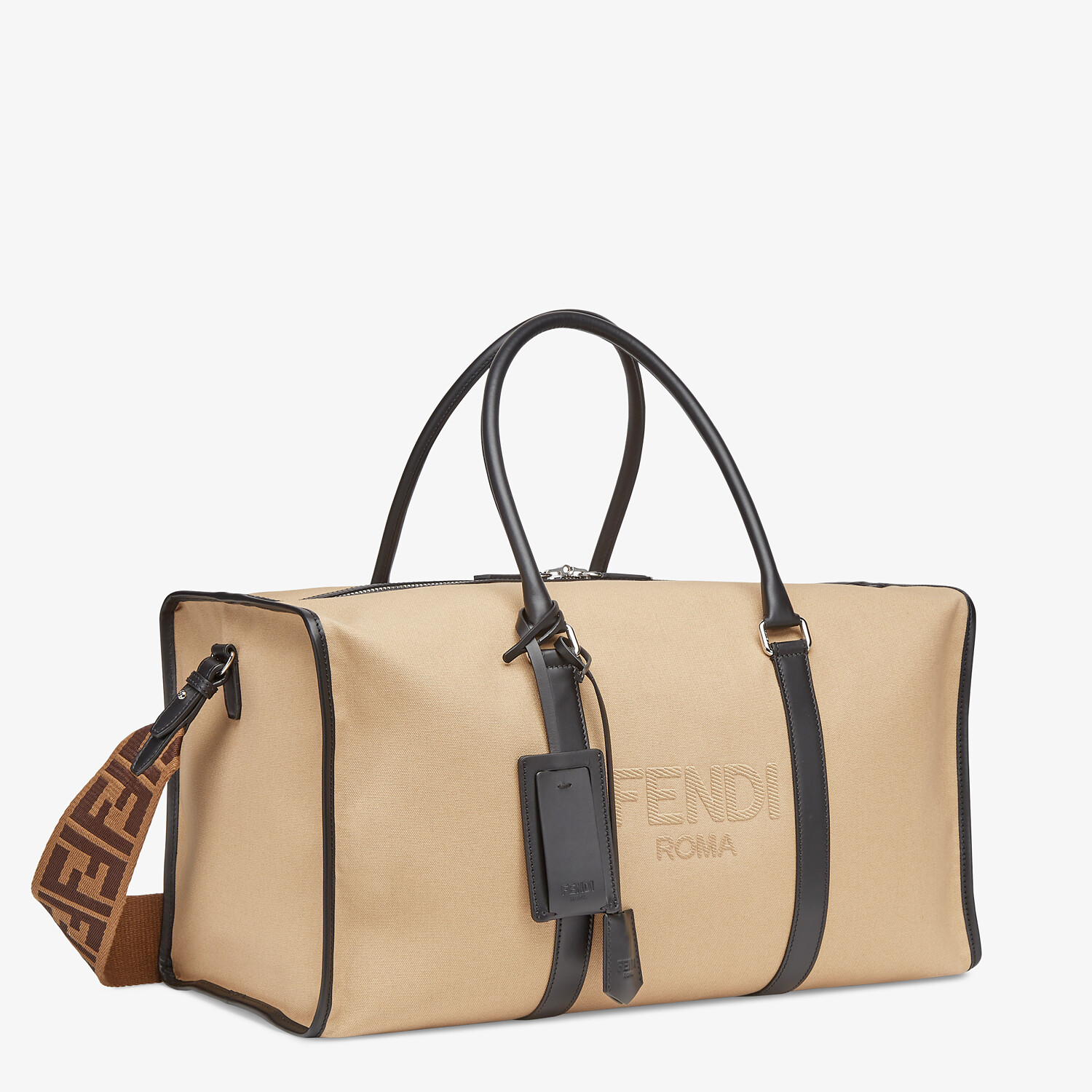 FENDI LARGE DUFFEL BAG - Large beige canvas bag - view 2 detail
