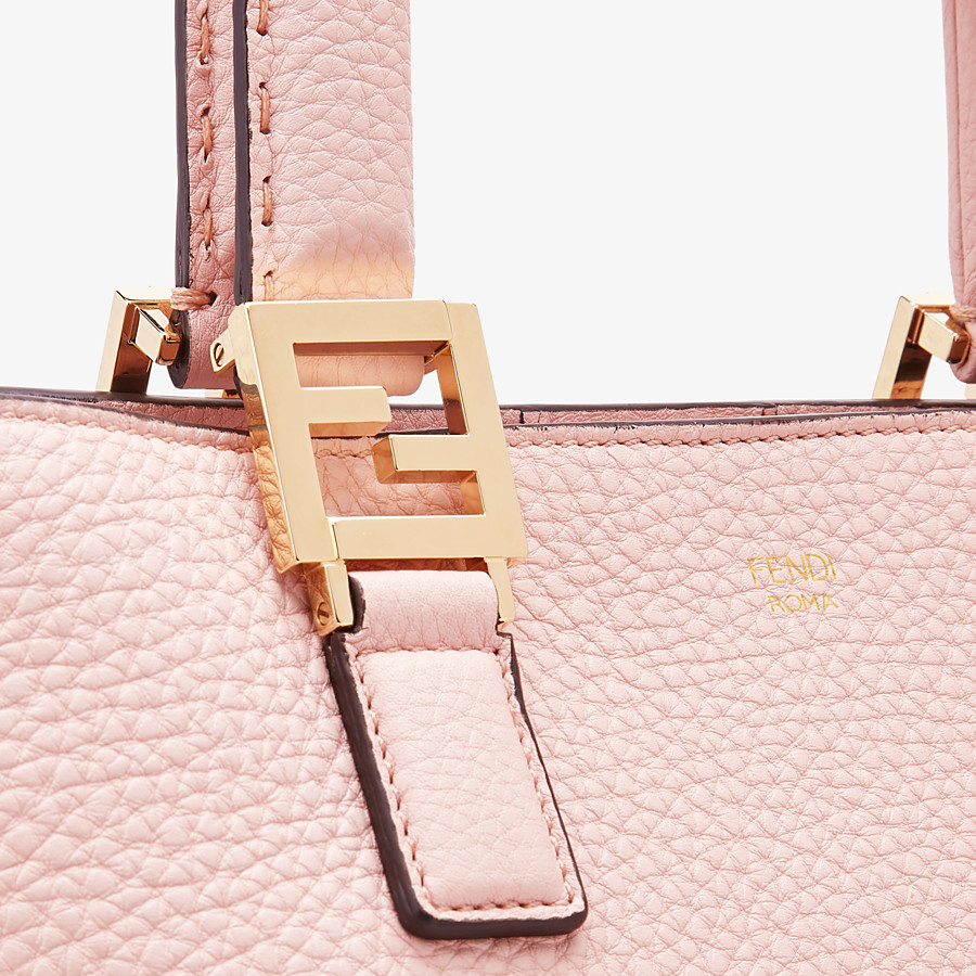 FENDI SMALL FF TOTE - Pink leather bag - view 6 detail