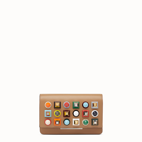 FENDI WALLET ON CHAIN - Studded wallet in sand-colour leather - view 1 small thumbnail
