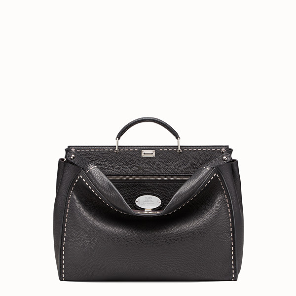 FENDI PEEKABOO - in black Roman leather with metallic stitching - view 1 small thumbnail