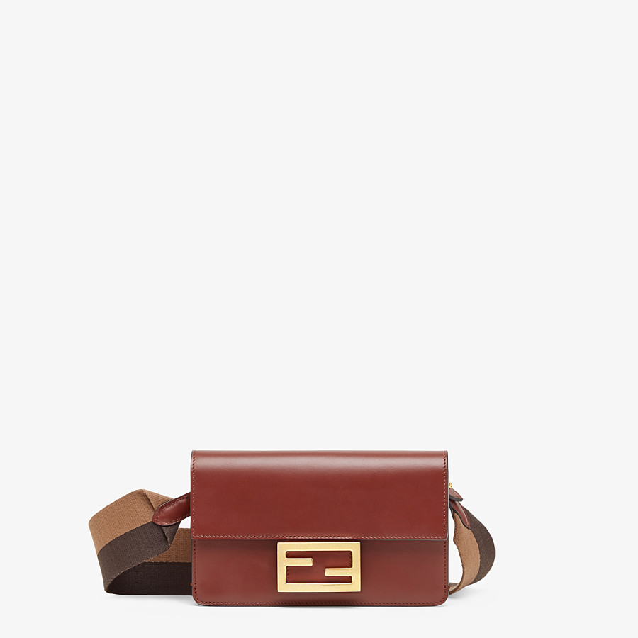 FENDI FLAT BAGUETTE - Brown leather mini-bag - view 1 detail