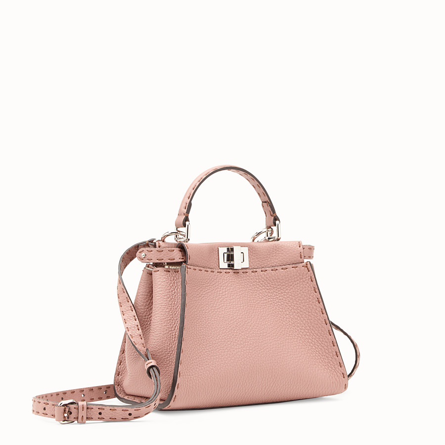 FENDI PEEKABOO MINI - Tasche aus Leder in Rosa - view 2 detail