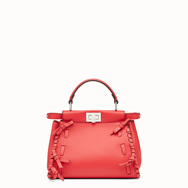FENDI PEEKABOO MINI - Borsa in pelle rossa - vista 1 thumbnail piccola