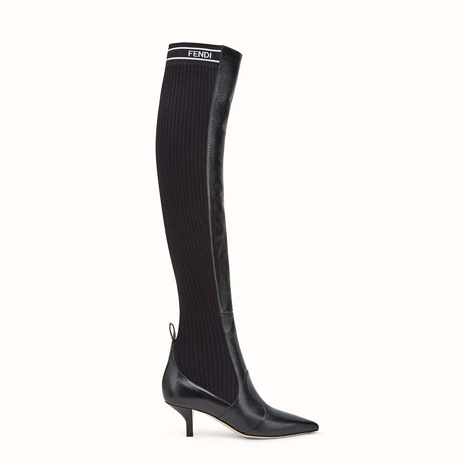 FENDI BOOTS - Black leather thigh-high boots - view 1 detail