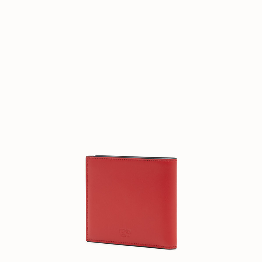 FENDI WALLET - Red leather bi-fold wallet - view 2 detail