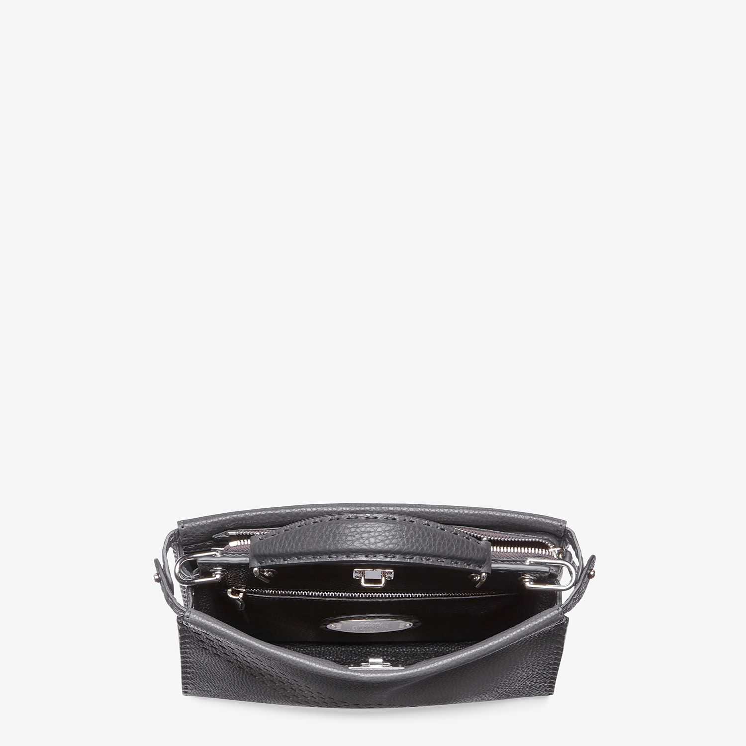 FENDI PEEKABOO ICONIC FIT MINI - Grey calf leather bag - view 4 detail