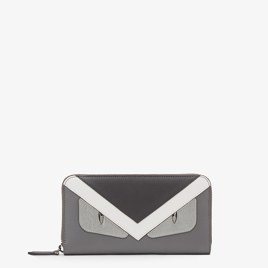 FENDI WALLET - Zip-around wallet in grey leather with insert - view 1 detail