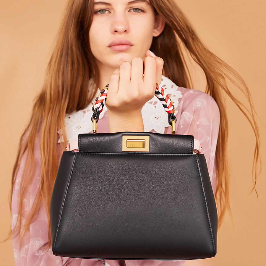 FENDI PEEKABOO ICONIC MINI - Black nappa leather bag - view 2 detail