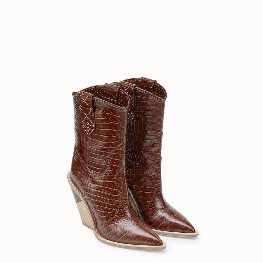 FENDI BOOTS - Brown leather ankle boots - view 4 detail