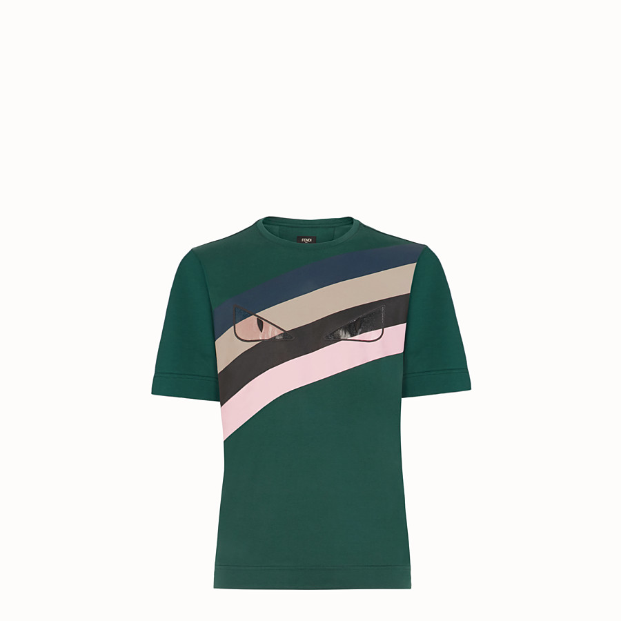 FENDI T-SHIRT - Green cotton T-shirt - view 1 detail