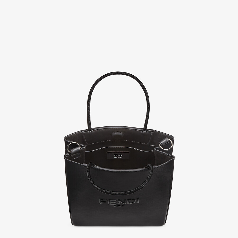 FENDI FENDI PACK SMALL SHOPPING BAG - Black leather bag - view 4 detail