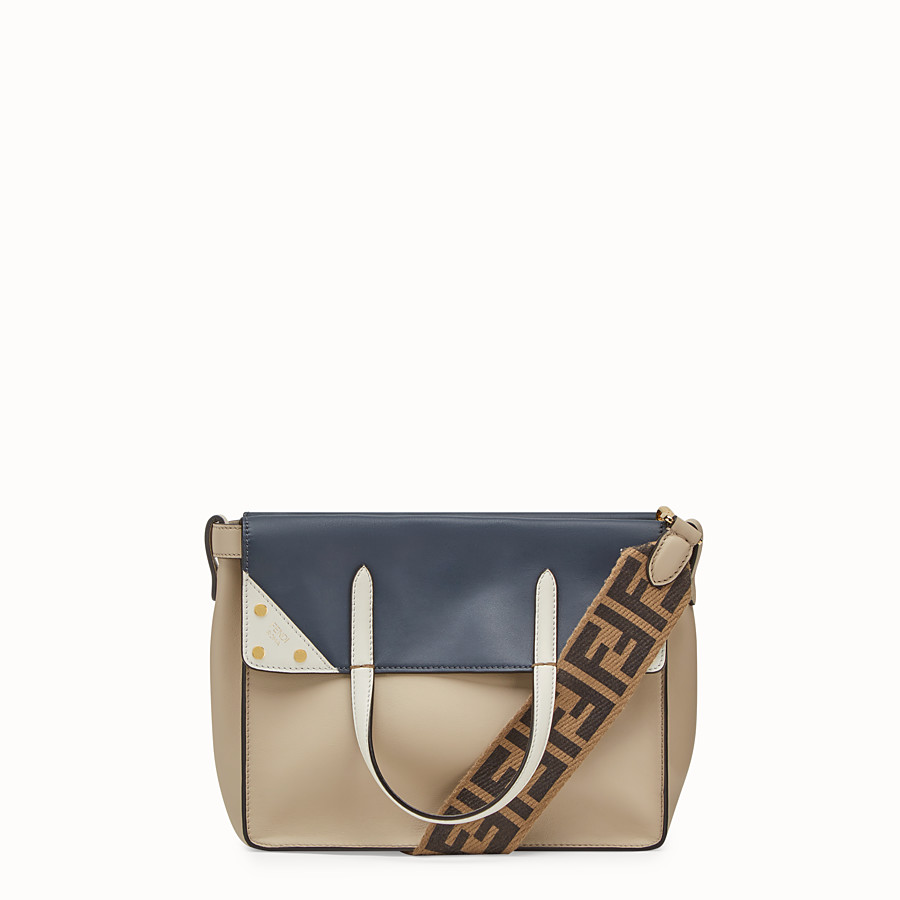 FENDI FENDI FLIP REGULAR - Beige leather bag - view 1 detail