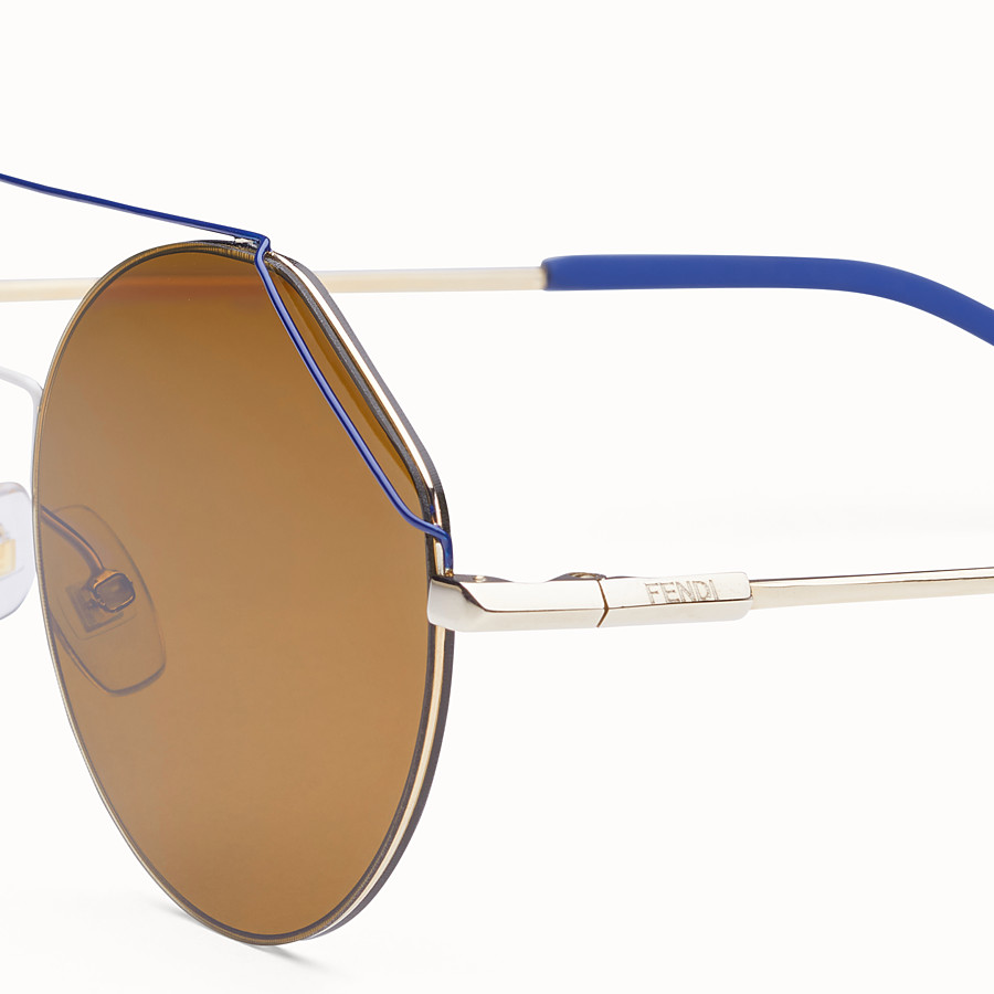 FENDI FENDIFIEND - Gold and blue sunglasses - view 3 detail