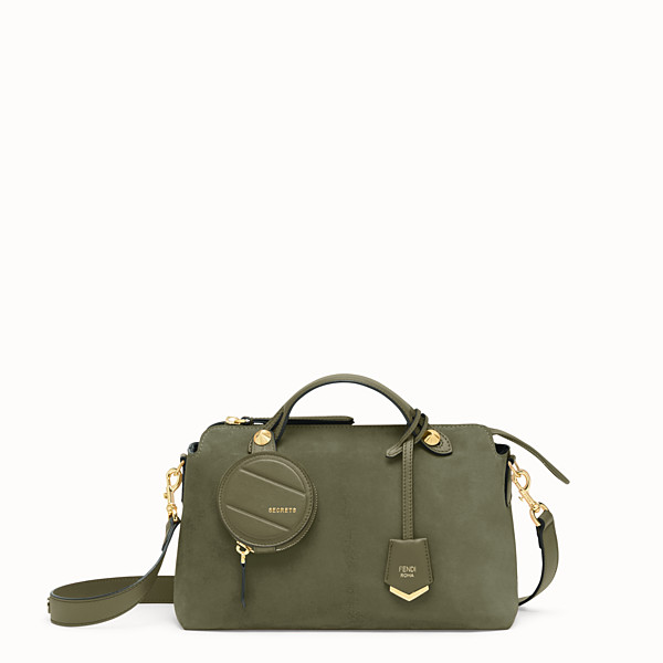 FENDI BY THE WAY MEDIUM - Green suede Boston bag - view 1 small thumbnail
