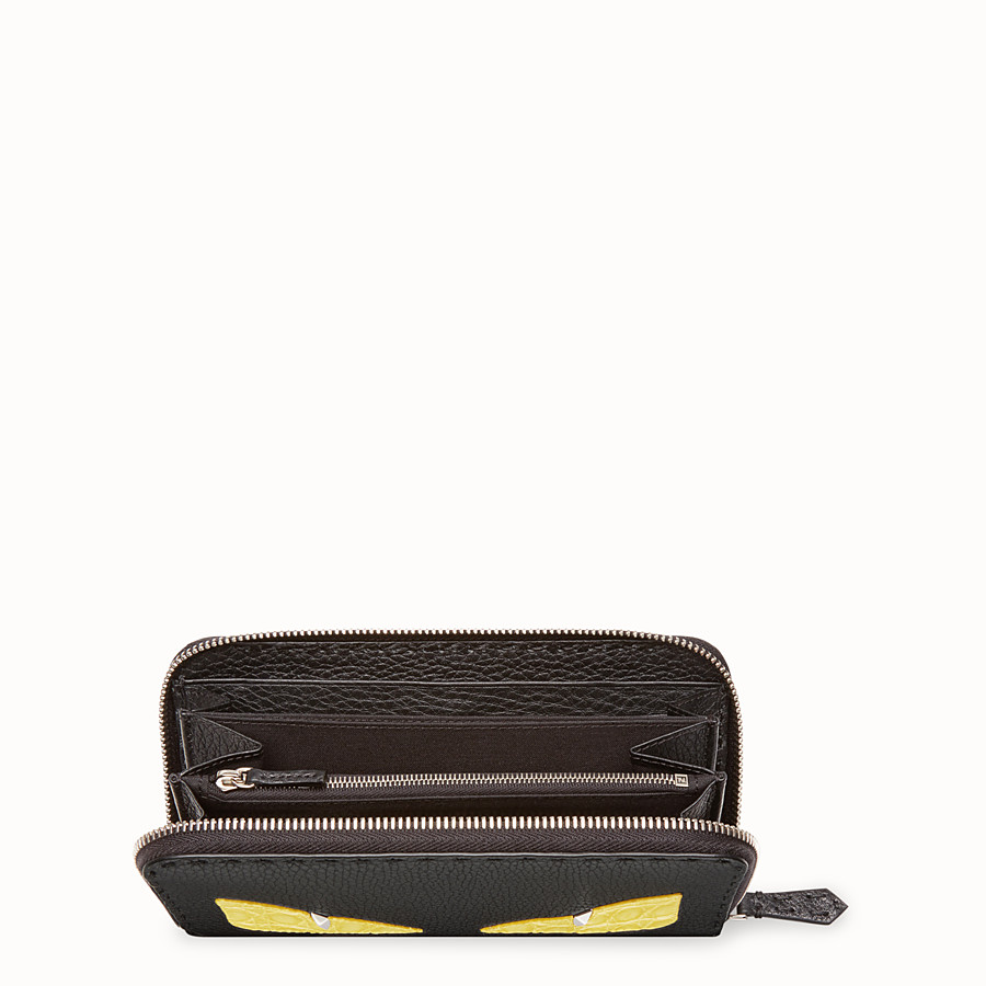 FENDI ZIP-AROUND - Black Roman leather wallet with exotic leather details - view 3 detail