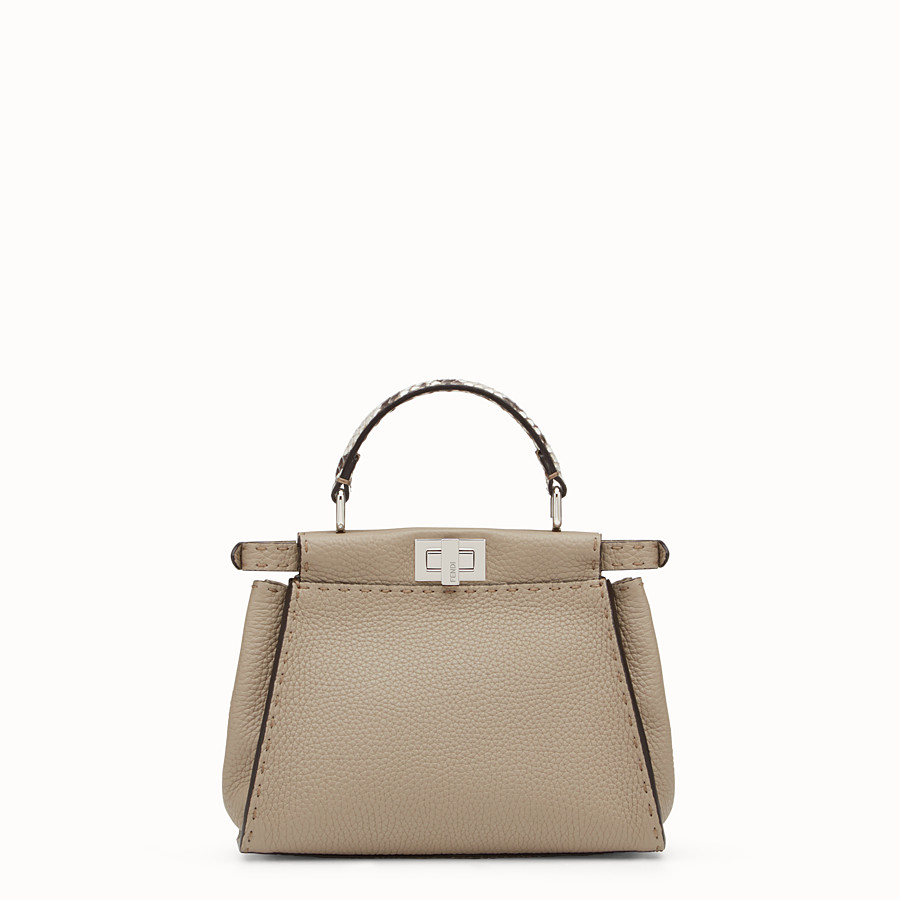 FENDI PEEKABOO MINI - Dove-grey Selleria handbag - view 3 detail