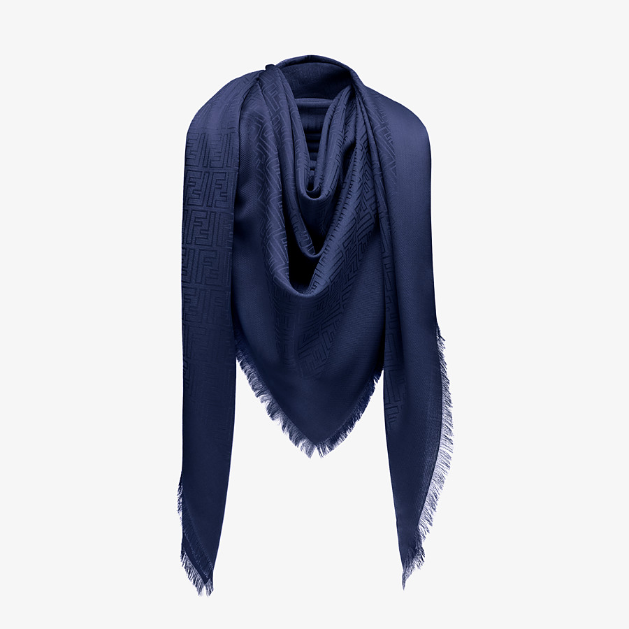 FENDI FF SHAWL - Blue silk and jacquard wool shawl - view 2 detail