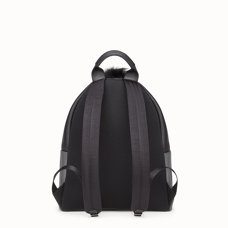 FENDI BACKPACK - in black and grey Roman leather - view 3 detail