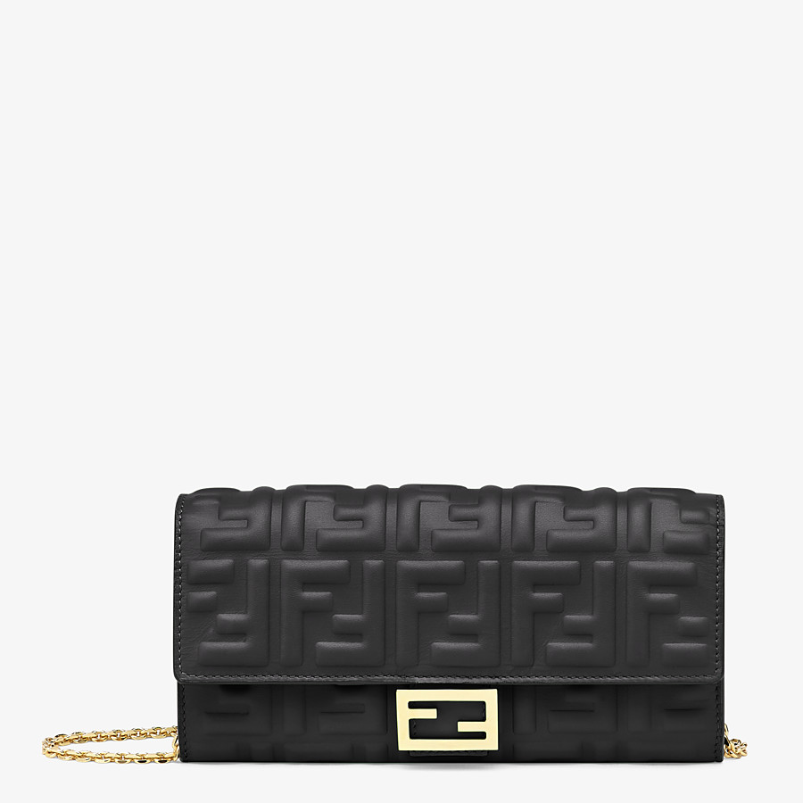 FENDI CONTINENTAL WITH CHAIN - Black nappa leather wallet - view 1 detail
