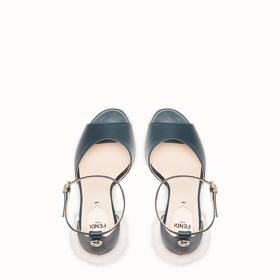 FENDI SANDALS - Green leather high sandals - view 4 detail