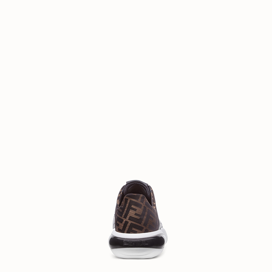 FENDI SNEAKERS - Black tech mesh and leather low-tops - view 3 detail