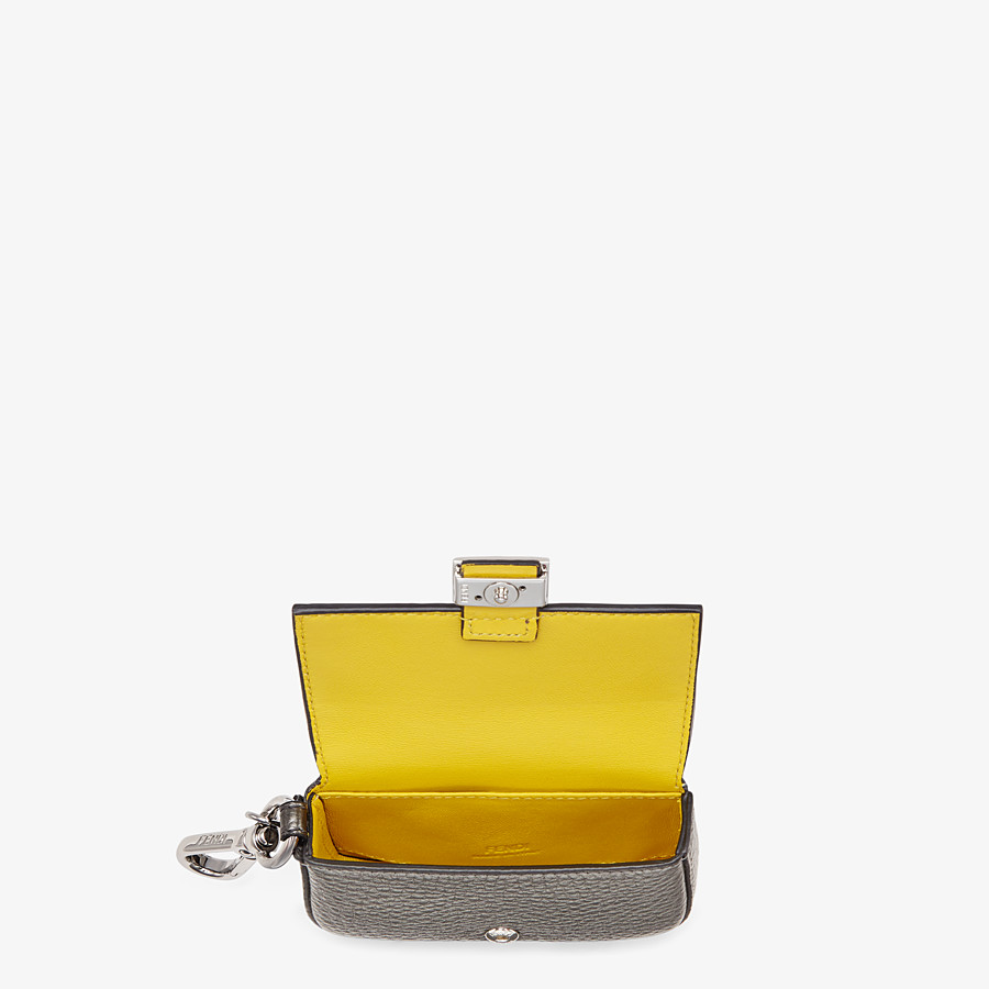 FENDI NANO BAGUETTE CHARM - Gray leather charm - view 3 detail