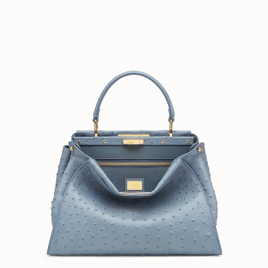FENDI PEEKABOO REGULAR - Blue ostrich bag - view 1 detail