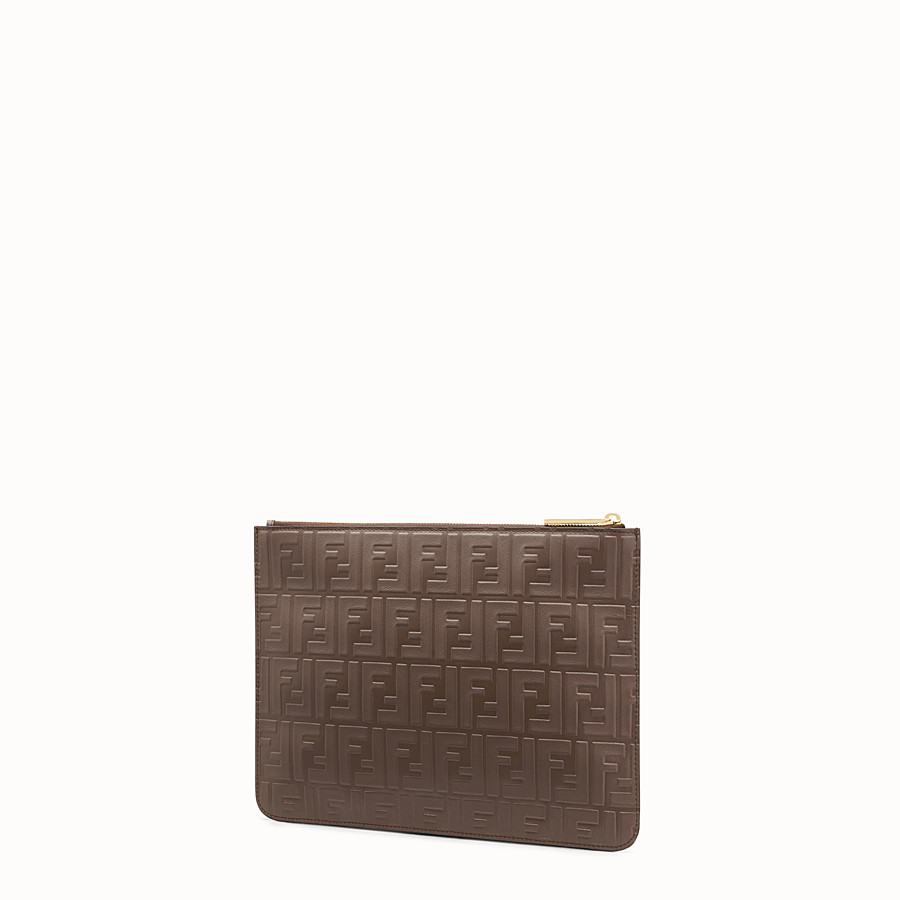 FENDI CLUTCH - Brown leather pouch - view 2 detail