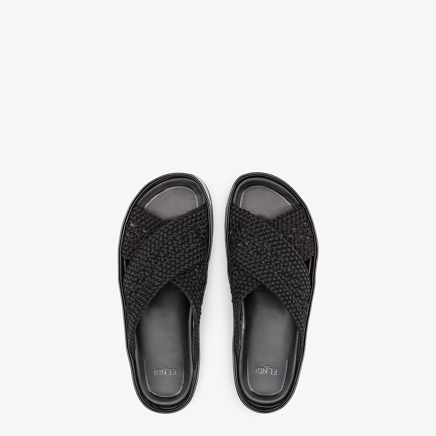 FENDI FENDI REFLECTIONS SLIDES - Black stretch lace flats - view 4 detail