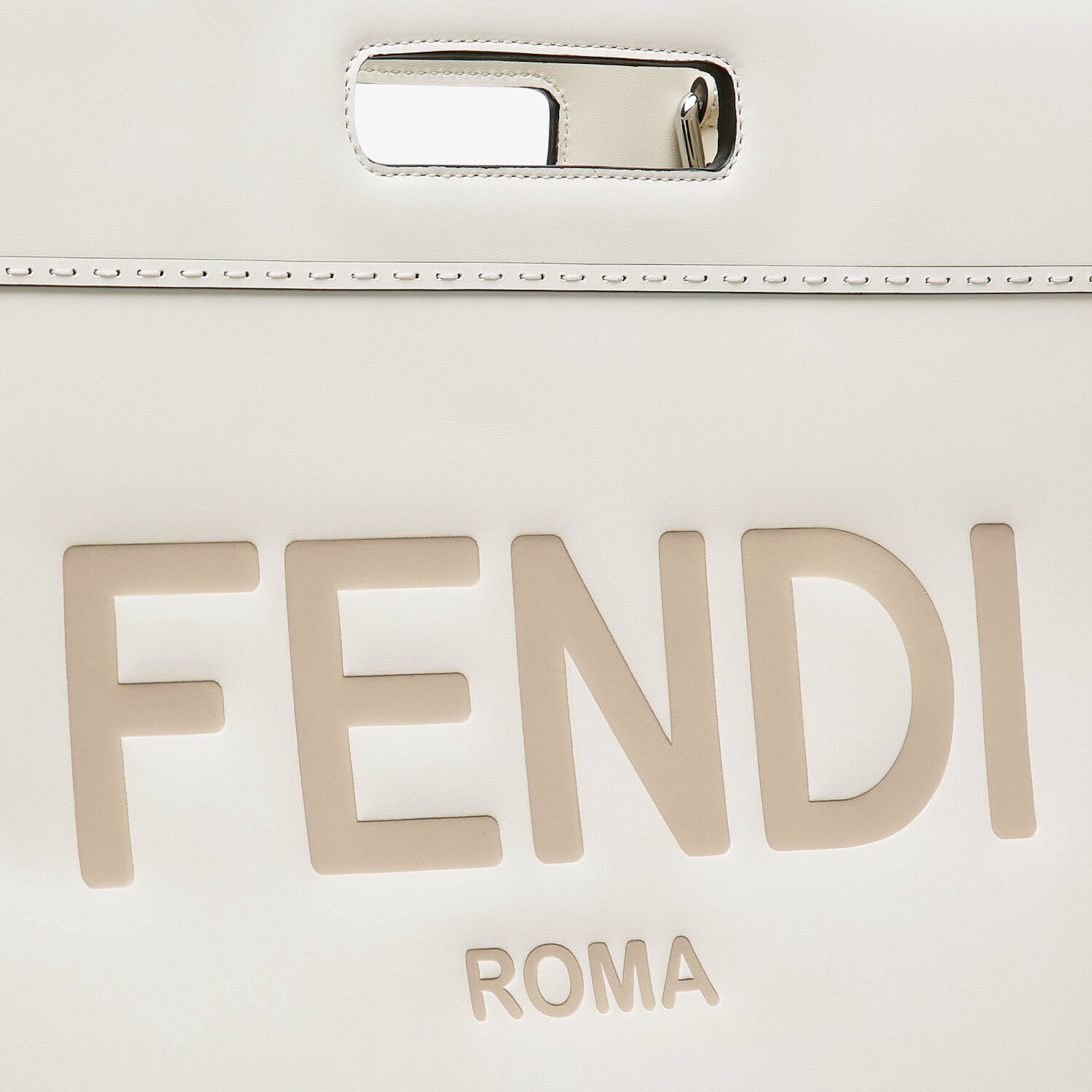 FENDI SHOPPING BAG - White leather shopper - view 6 detail